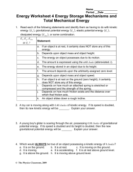 31 Work Energy And Power Worksheet Answers Physics ...