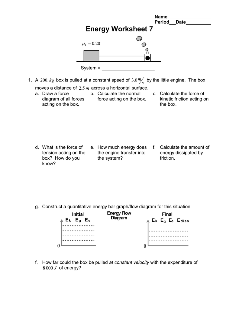 Energy Worksheet 7