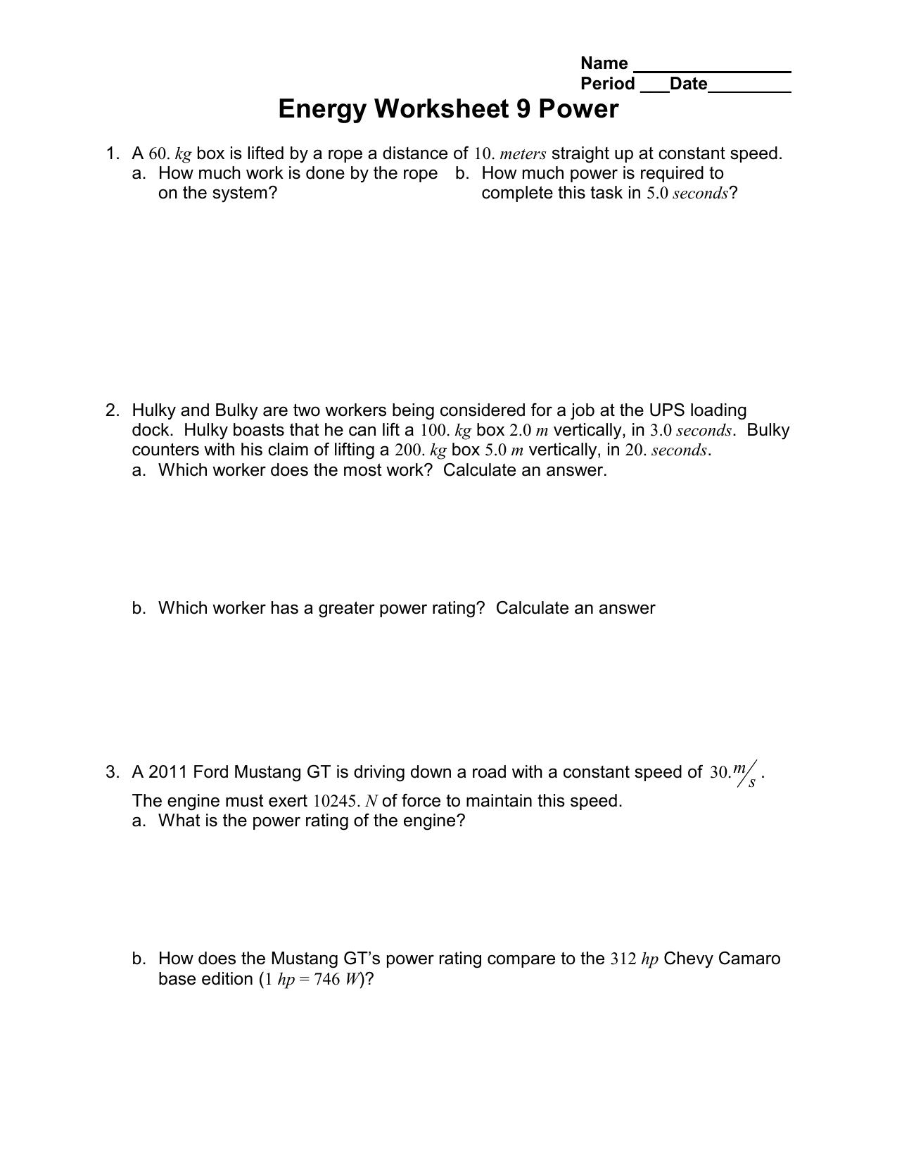 Energy Worksheet 9 Power