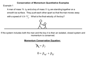 Impulsive Force Model Worksheet 3: Conservation of Momentum I