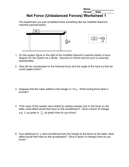 Net Force (Unbalanced Forces) Worksheet 1