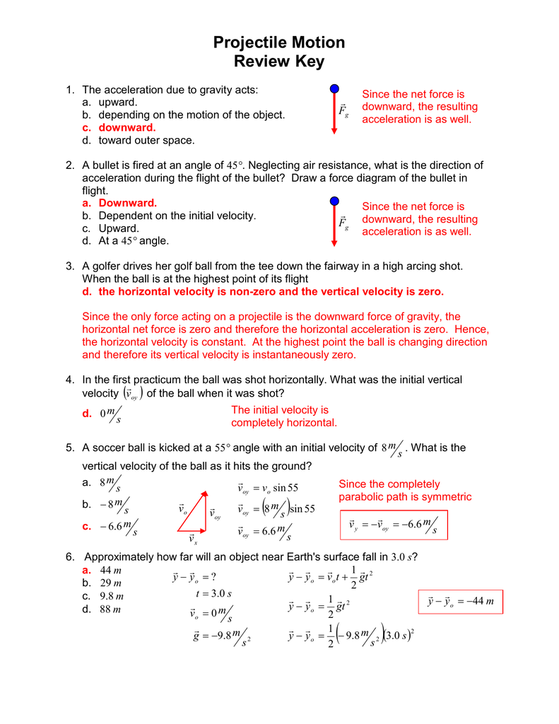 Projectile Motion Review Key Force Diagrams Worksheet Answers On Drawing Free Body 012116093 1 2c47869e5ff2fb021a13fc9b76d5df3a