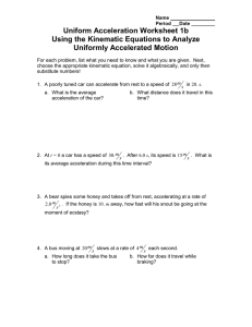 Uniform Acceleration Worksheet 1b Using the Kinematic Equations to Analyze