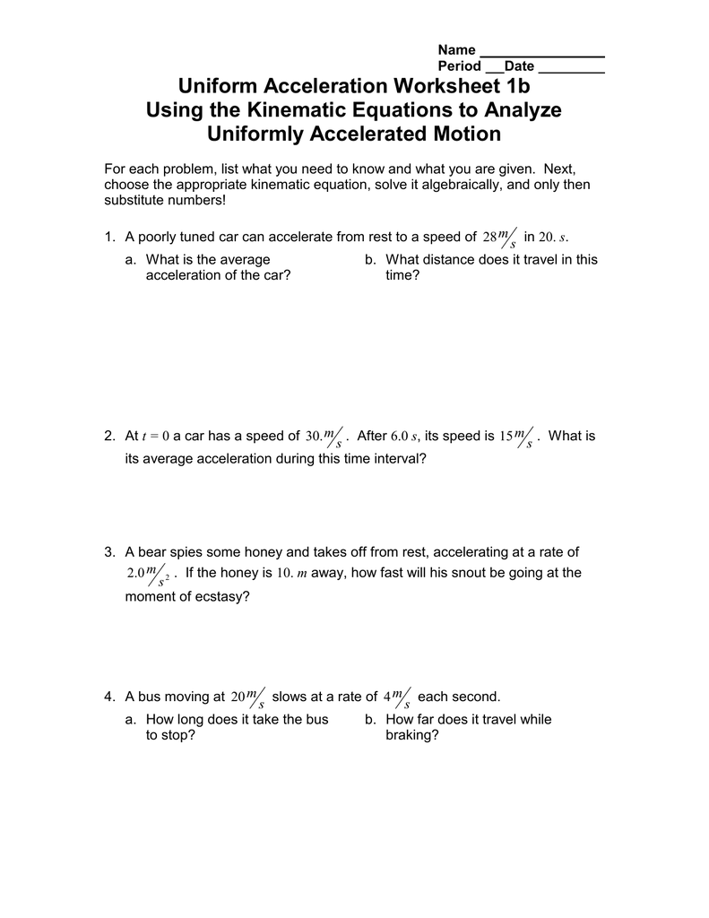 worksheet Kinematics Worksheet kinematic and linear equation practice answers tessshebaylo nolitaman