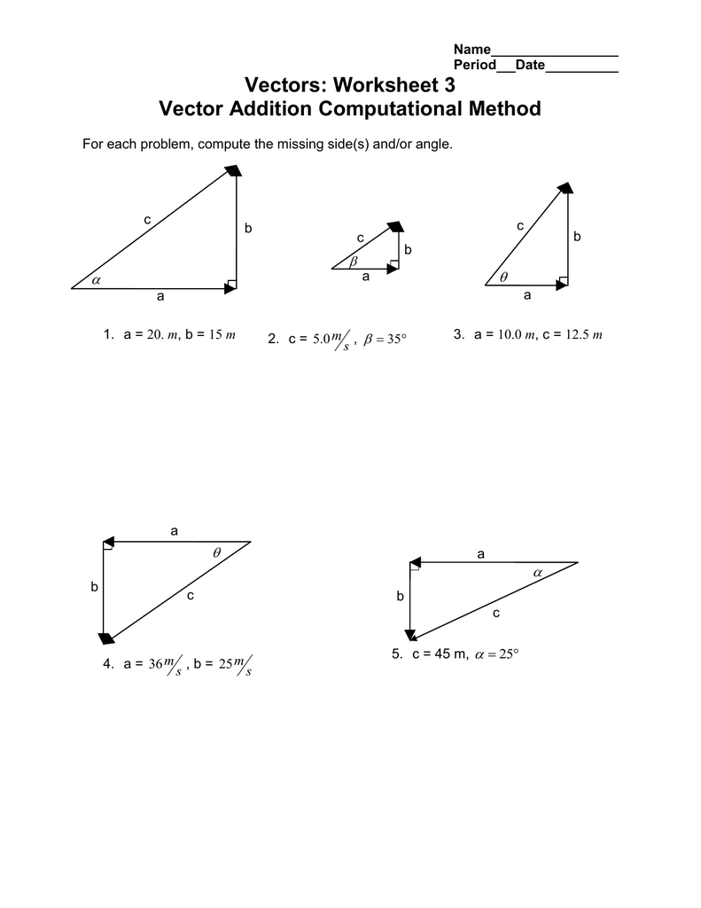 Vectors Worksheet 3 Vector Addition Computational Method