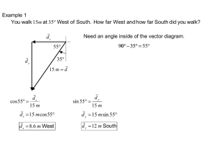 Example 1  Need an angle inside of the vector diagram. 55