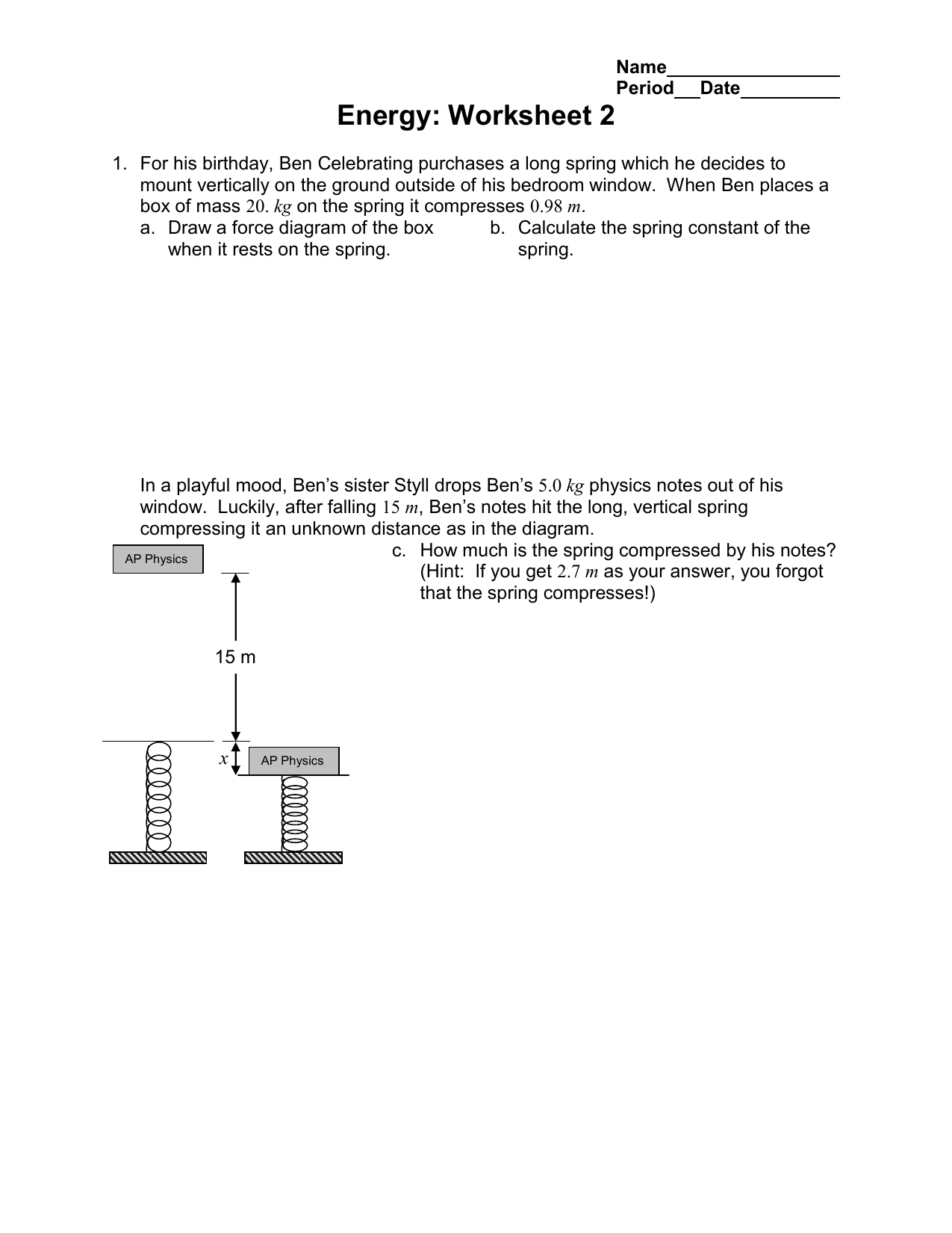 Energy: Worksheet 2