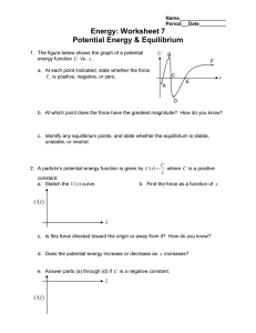 Energy: Worksheet 7 Potential Energy & Equilibrium