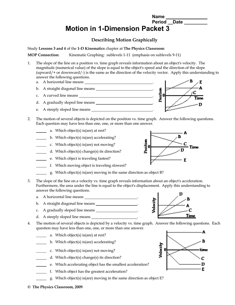 Motion in 1-Dimension Packet 3 Name Period Date