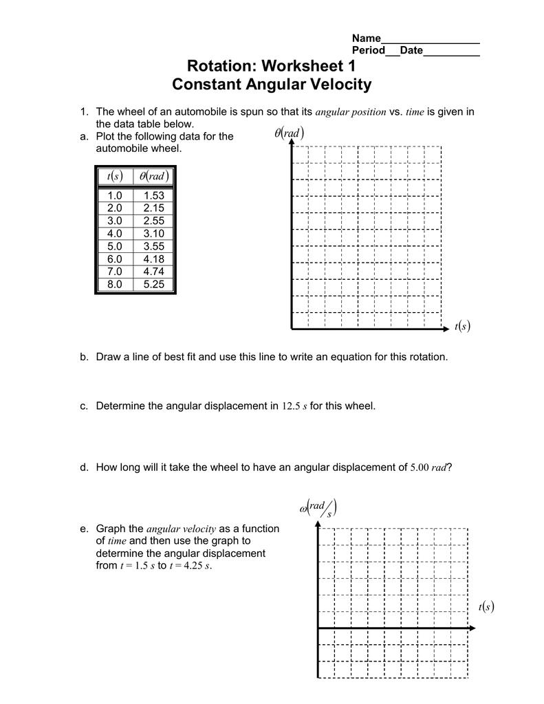 Rotation Worksheet 1 Constant Angular Velocity – Angular and Linear Velocity Worksheet