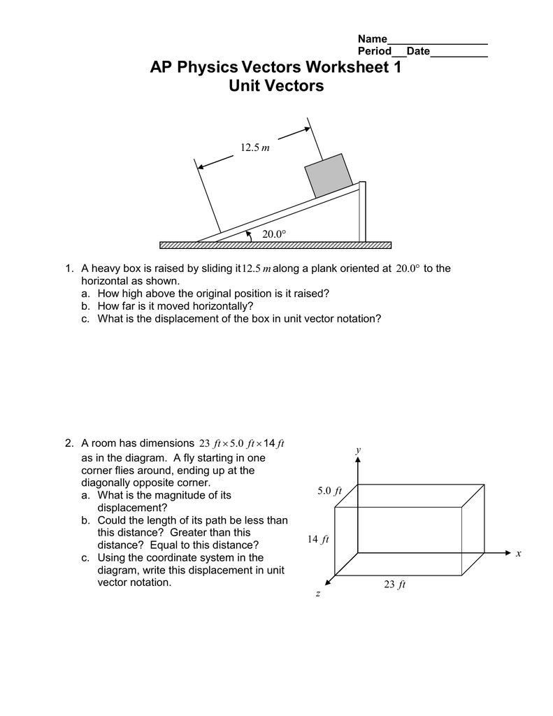Ap Physics Vectors Worksheet 1 Unit Vectors