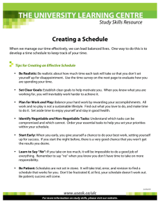 Creating a Schedule Study Skills Resource