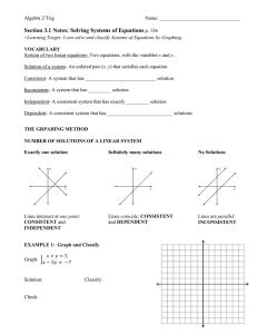 Section 3.1 Notes: Solving Systems of Equations