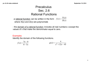 Math 1314 4 1 and 4 2 Rational Functions and Asymptotes doc