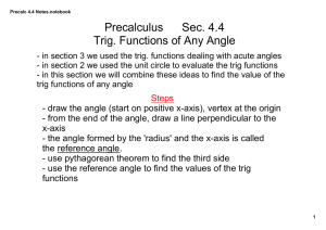 Precalculus Sec. 4.4 Trig. Functions of Any Angle
