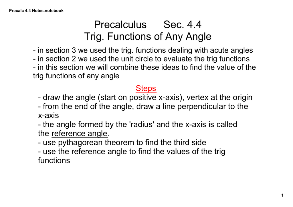 Precalculus Sec  4 4 Trig  Functions of Any Angle