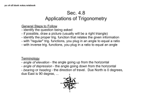 Sec. 4.8 Applications of Trigonometry