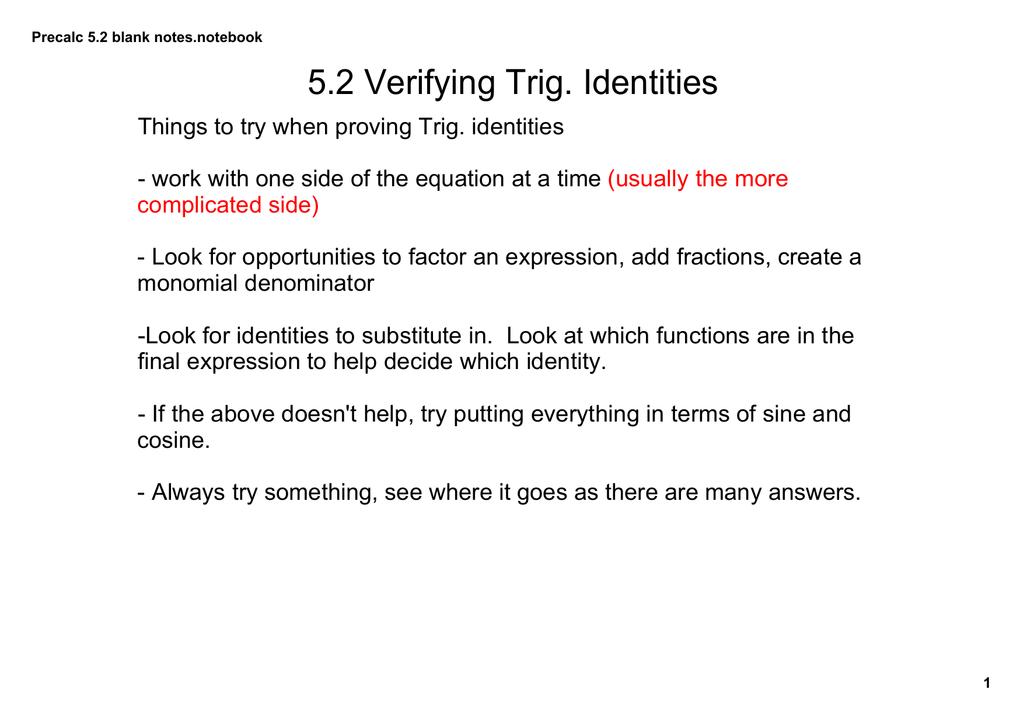 5 2 Verifying Trig Identities