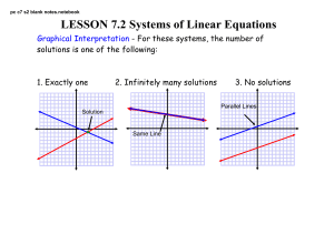 LESSON 7.2 Systems of Linear Equations