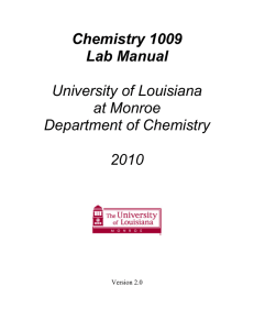Chemistry 1009 Lab Manual  University of Louisiana