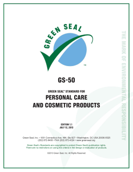 GS-50 PERSONAL CARE AND COSMETIC PRODUCTS