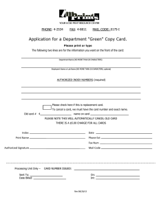 "Application for a Department ""Green"" Copy Card.  PHONE: 4-2534 FAX: 4-8811"
