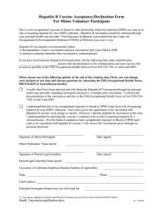 Hepatitis B Vaccine Acceptance/Declination Form For Minor Volunteer Participant