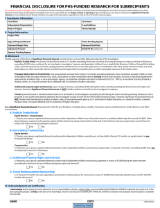 FINANCIAL DISCLOSURE FOR PHS-FUNDED RESEARCH FOR SUBRECIPIENTS