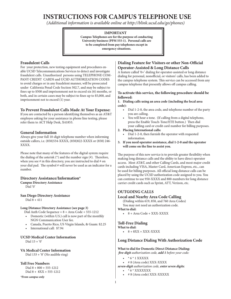 INSTRUCTIONS FOR CAMPUS TELEPHONE USE