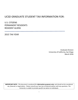 UCSD GRADUATE STUDENT TAX INFORMATION FOR:  U.S. CITIZENS PERMANENT RESIDENTS