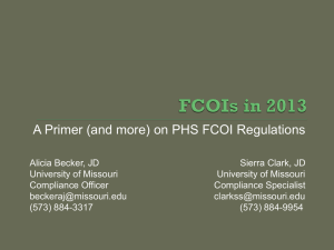 NCURA Summary of the New PHS FCOI Requirements