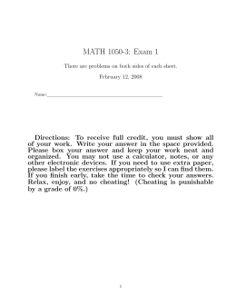 MATH 1050-3: Exam 1