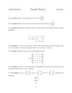 Sample Exam 1 MATH 2270-003 Fall 2010