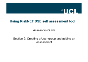 Using RiskNET DSE self assessment tool Assessors Guide assessment