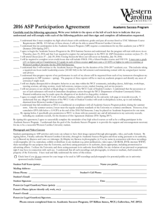 2016 ASP Participation Agreement  Academic Success Program