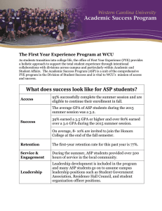 The First Year Experience Program at WCU