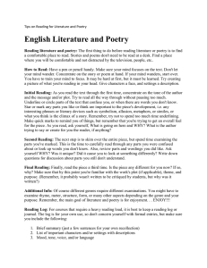 English Literature and Poetry