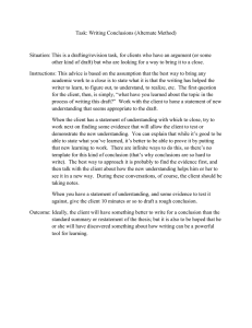 Task: Writing Conclusions (Alternate Method)