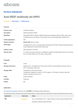 Anti-PEDF antibody ab14993 Product datasheet 1 Abreviews Overview