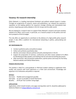 Vacancy:  EU research internship