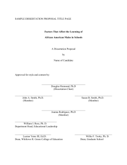 SAMPLE DISSERTATION PROPOSAL TITLE PAGE A Dissertation Proposal  by