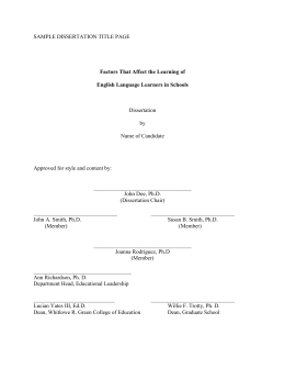 SAMPLE DISSERTATION TITLE PAGE Dissertation  by