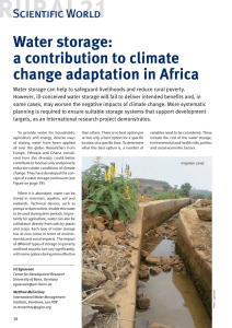 Water storage: a contribution to climate change adaptation in Africa Scientific World
