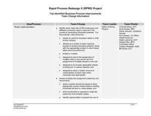 Rapid Process Redesign II (RPRII) Project