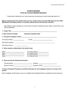 ETHICS REVIEW Form for Course-Related Research