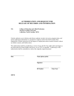 AUTHORIZATION AND REQUEST FOR RELEASE OF RECORDS AND INFORMATION
