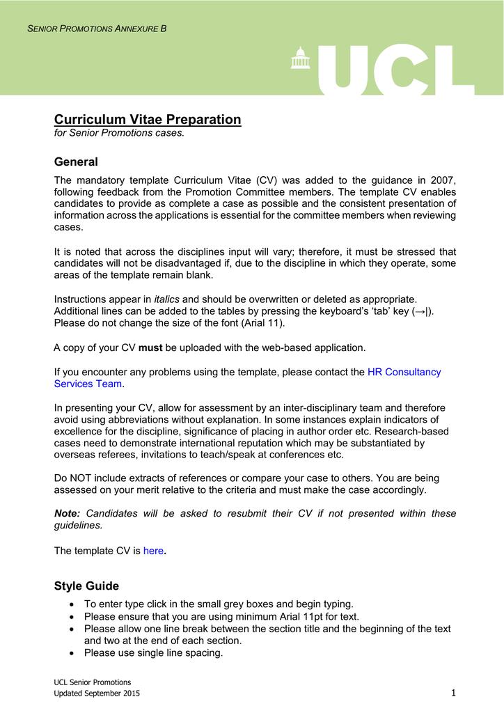 Curriculum Vitae Preparation General