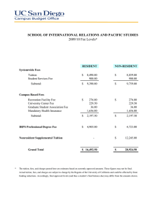 SCHOOL OF INTERNATIONAL RELATIONS AND PACIFIC STUDIES 2009/10 Fee Levels *