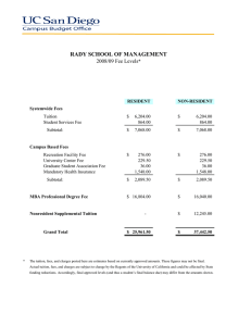 RADY SCHOOL OF MANAGEMENT 2008/09 Fee Levels *