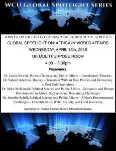 GLOBAL SPOTLIGHT ON: AFRICA IN WORLD AFFAIRS WEDNESDAY, APRIL 13th, 2016
